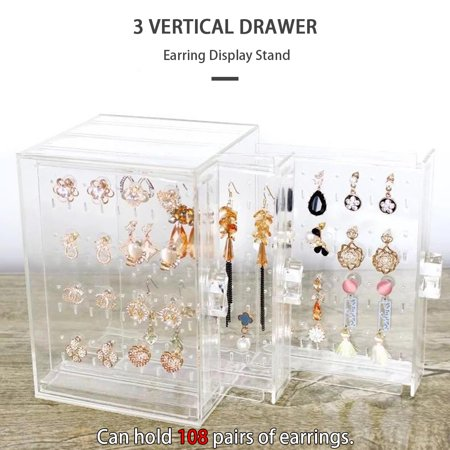 Earring Display Box Organizer Holder Stand Jewelry Storage Box Acrylic with 3 Vertical Drawers Acrylic Earring Display Stand