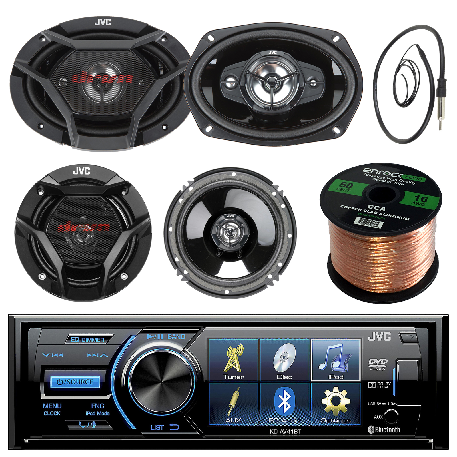 "JVC KD-AV41BT 3"" Car DVD Bluetooth Stereo Receiver Bundle Combo With 2x Dual 6.5"" 2-Way And 2x 6x9"" Inch 4-Way Audio Coaxial Upgrade Speakers + Enrock 22"" AM/FM Antenna + 50 Foot 16 Gauge Speaker Wire"