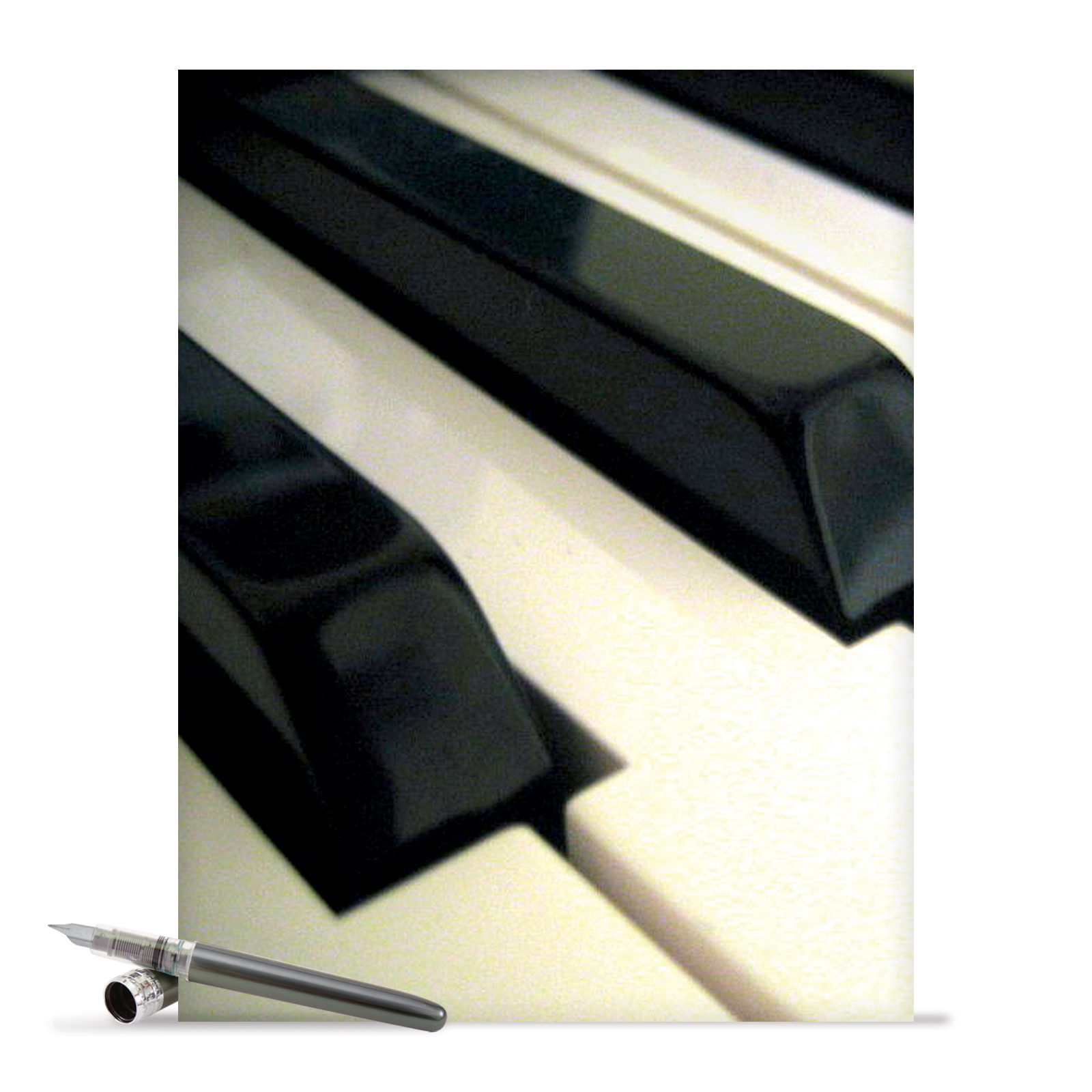 J2016ATYG Large Thank You Card: 'Keynotes' Featuring Ebony and Ivory Piano Keys Greeting Card with Envelope by The Best Card Company