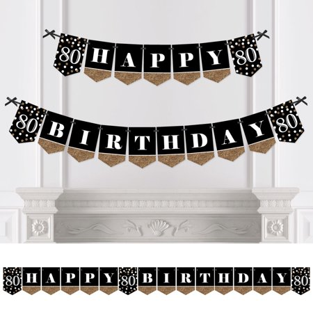 Adult 80th Birthday - Gold - Birthday Party Bunting Banner - Gold Party Decorations - Happy Birthday