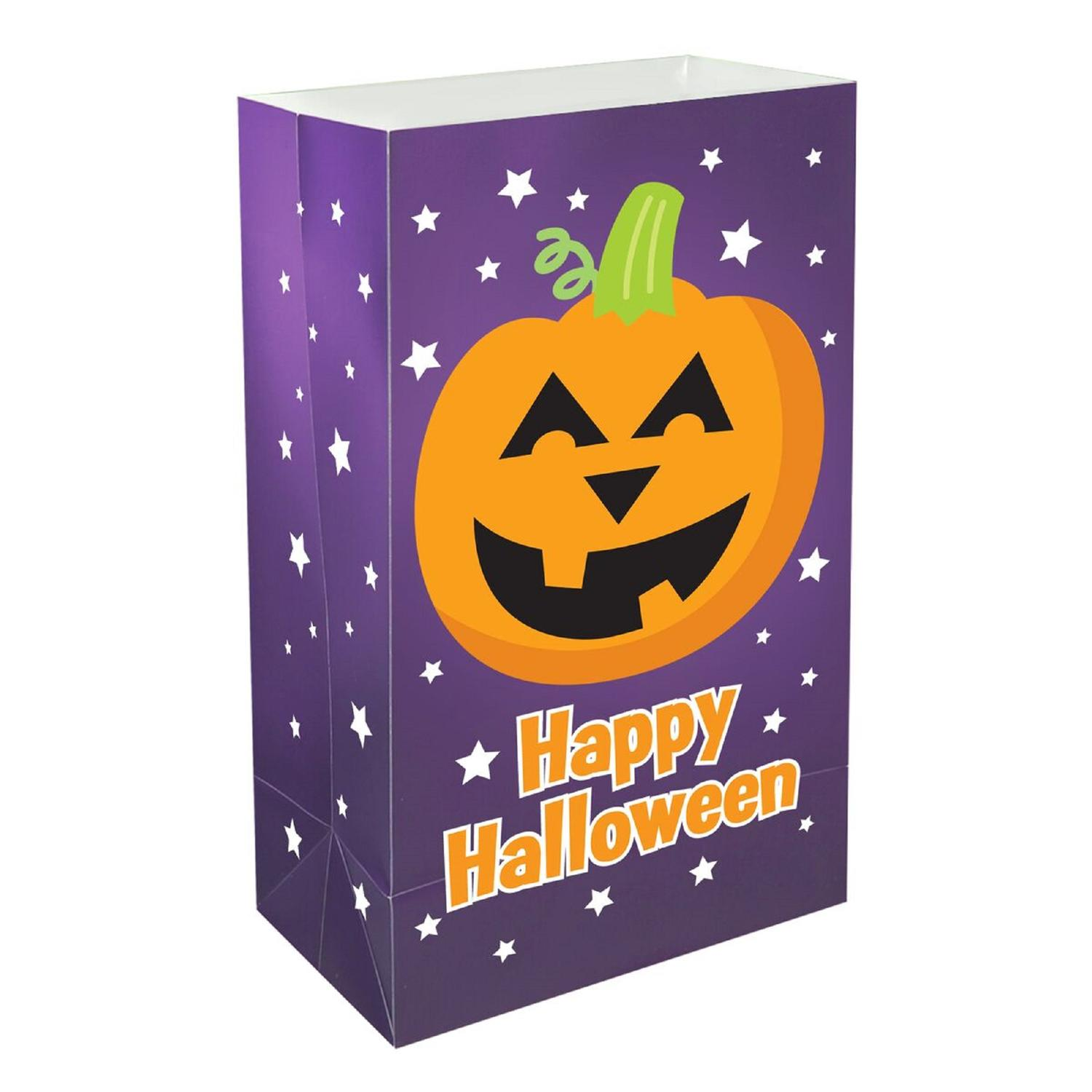 Pack of 12 Traditional Weather Resistant Happy Halloween Pumpkin Luminaria Bags 10""