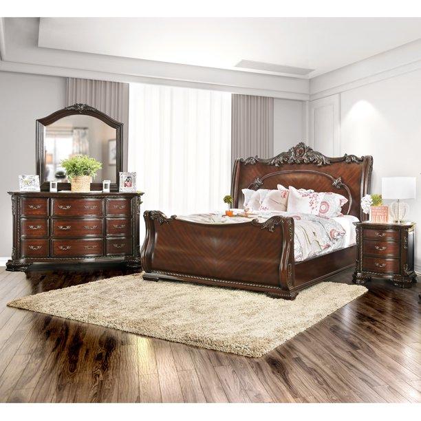 Furniture Of America Cane Traditional Cherry 4 Piece Bedroom Set Walmart Com Walmart Com