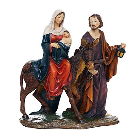 Flight into Egypt Mary Jesus Baby Jesus Catholic Religous Figurine Sculpture 8.5 Inch