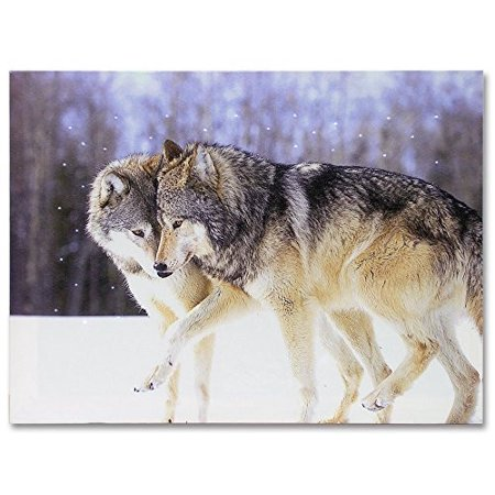 Kissing Wolves LED Lighted Canvas Print Home Decor - Frolicking Grey Wolves Nuzzling in a Snowy Winter Forest Scene - 16x12 Inch - Winter Scene