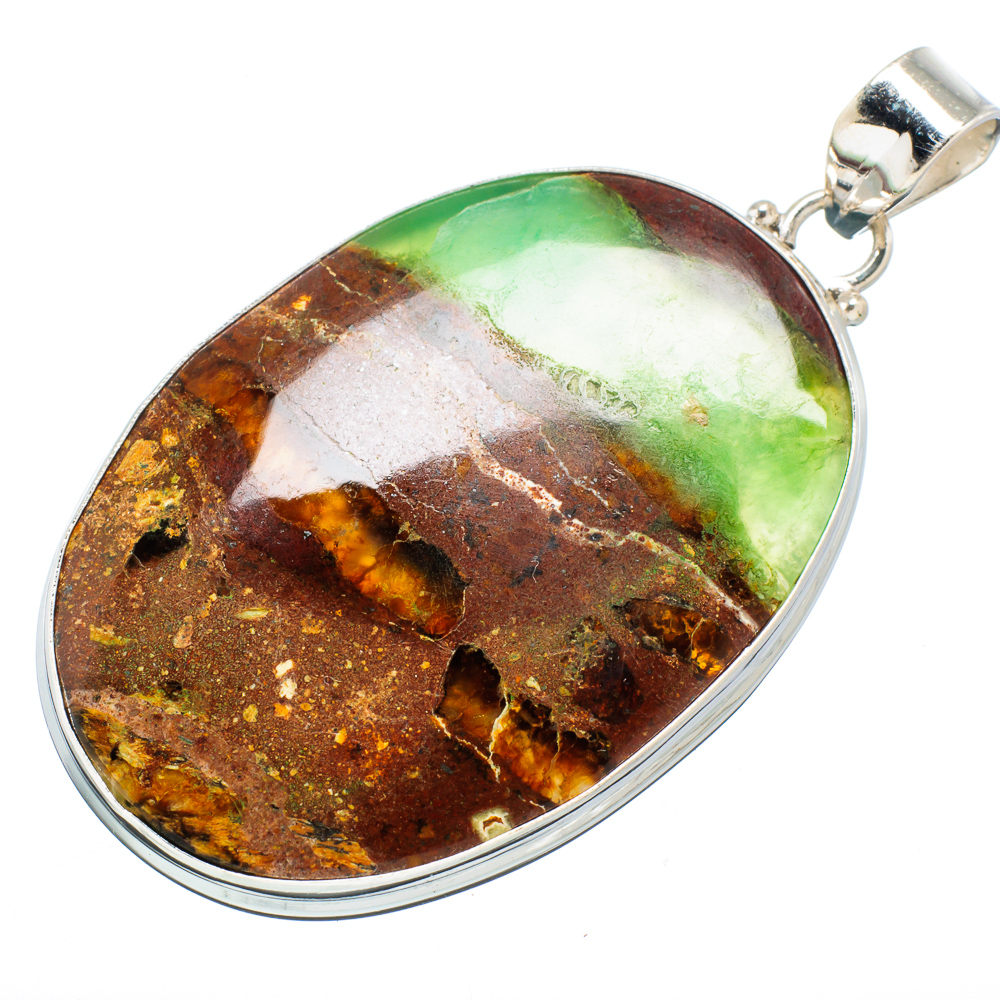 "Ana Silver Co Boulder Chrysoprase 925 Sterling Silver Pendant 2 1 4"" PD609266 by Ana Silver Co."