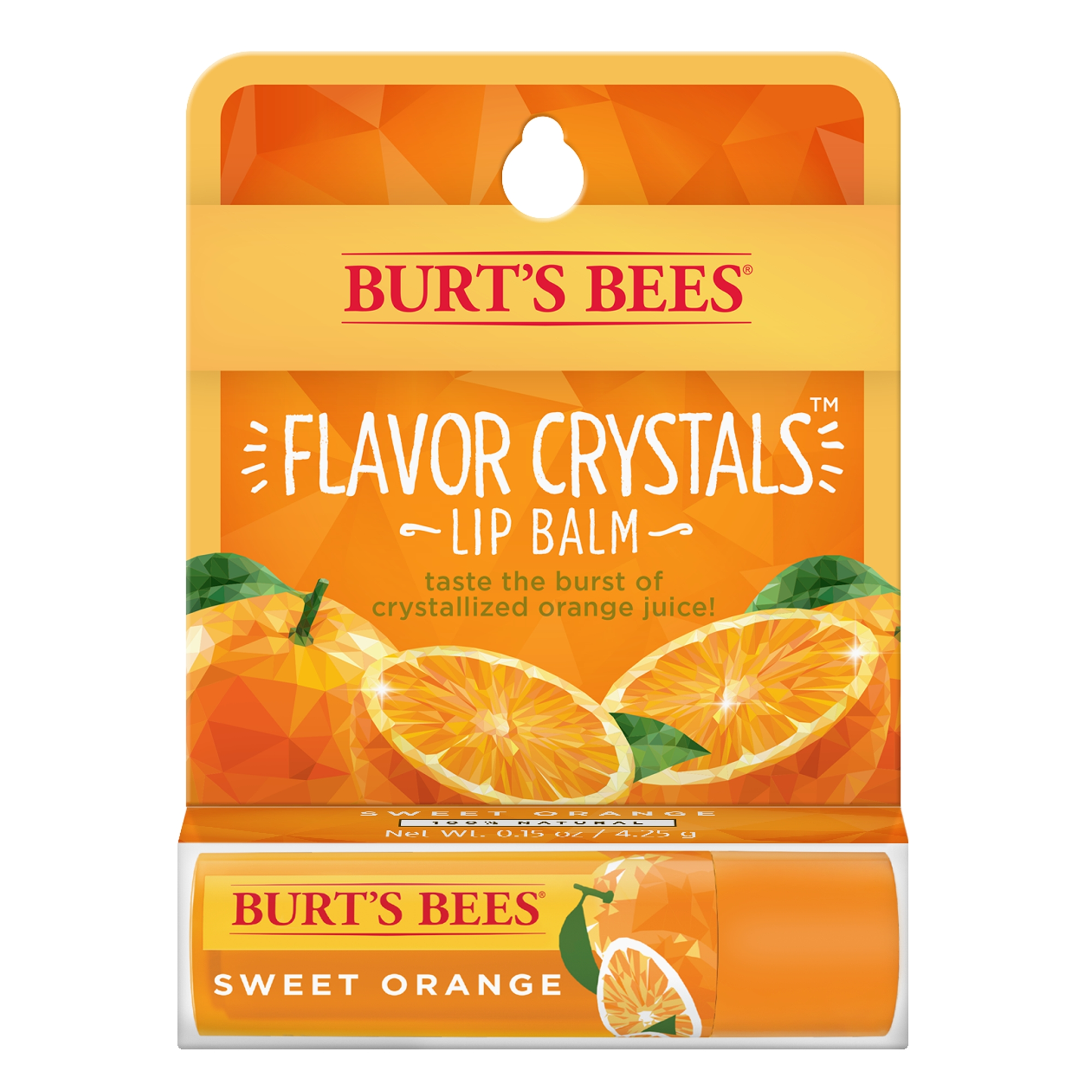 (2 Pack) Burt's Bees Flavor Crystals 100% Natural Lip Balm, Sweet Orange with Beeswax & Fruit Extracts - 1 Tube