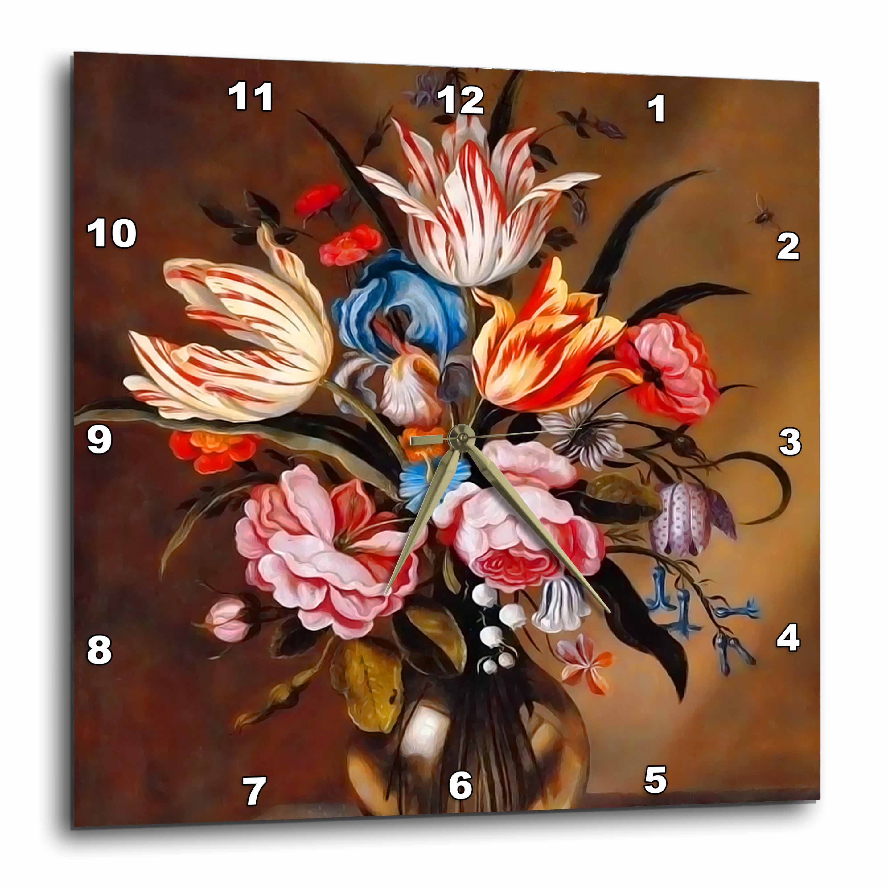 3dRose Vintage Flowers in a Vase by Dutch artist Abraham Bosschaert from 1632, Wall Clock, 15 by 15-inch