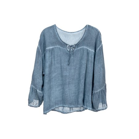 howard's jewelry women's stonewashed top-tunic cut 3/4 bell sleeve v-neck - Cut Bell