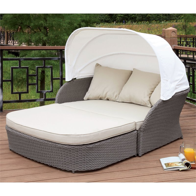 Furniture of America Jeb Patio Canopy Daybed in Gray