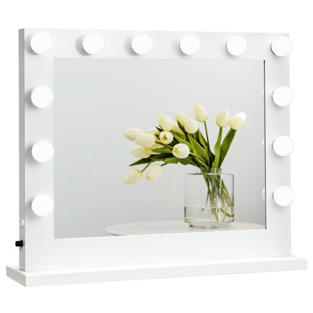 Gymax Hollywood Lighted Makeup Vanity Dressing Mirror Tabletop Mirror Dimmer LED White ()