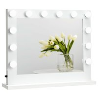 Gymax Hollywood Lighted Makeup Vanity Dressing Mirror Tabletop Mirror Dimmer LED White