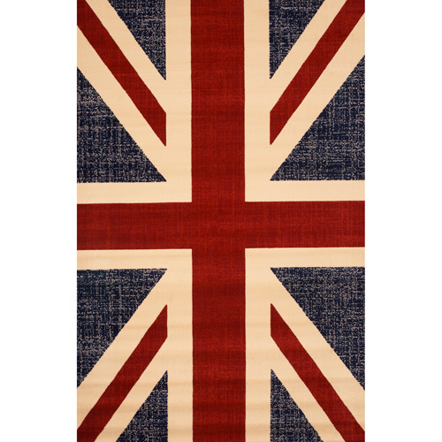 "Terra UK Flag Woven Olefin Area Rug, 5'3"" x 7'6"""