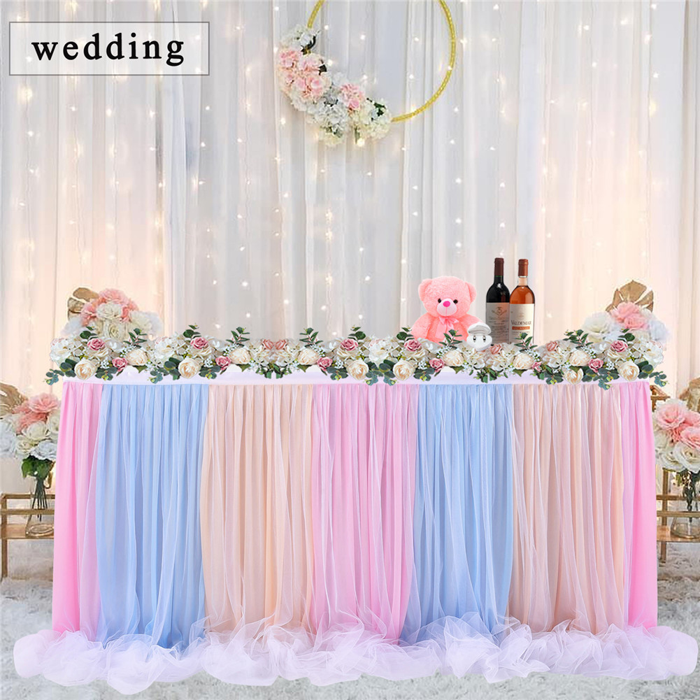 Long Thread Ribbon Table Skirt For Wedding Party Decoration Color 14ft Walmart Canada