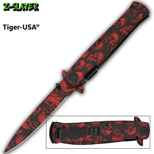 Red & Black Skull Handle and Blade - Assisted Open Zombie Pocket Knife