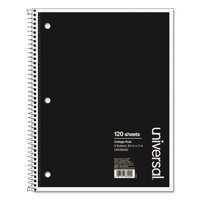 Universal 3 Sub. Wirebound Notebook, 11 x 8 1/2, College Rule, 120 Sheets, Black Cover -UNV66400