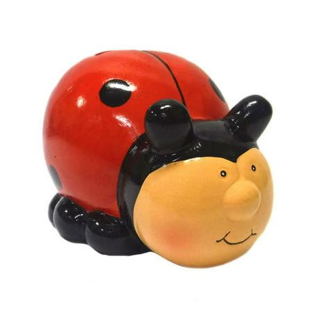Ceramic Ladybug Coin Bank