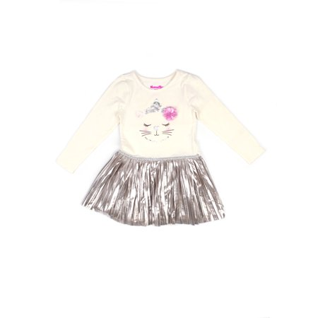 Girl Dress Sale (Embellished Cat Graphic Top and Metallic Pleated Dress (Little)
