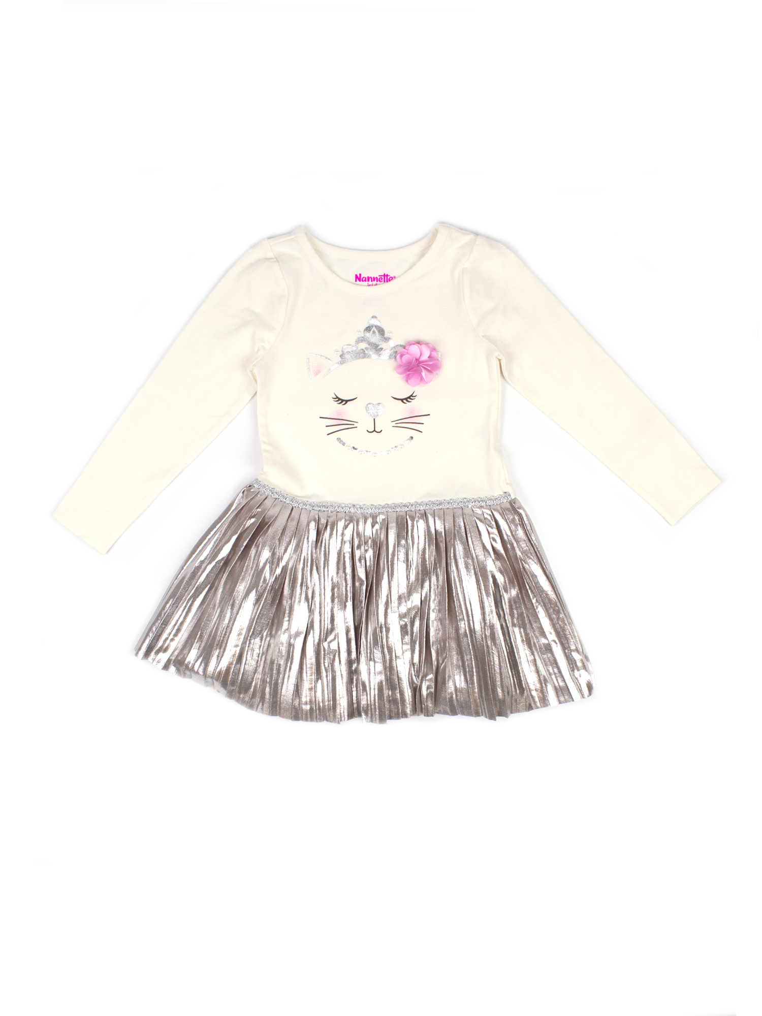 Embellished Cat Graphic Top and Metallic Pleated Dress (Little Girls)