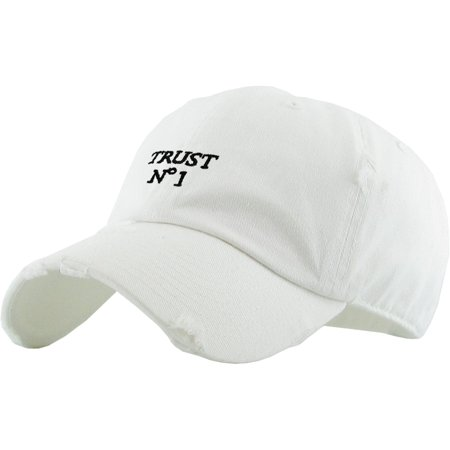 e6d4fe60dae KBETHOS - Trust No 1 White Vintage Distressed Dad Hat Baseball Cap Polo  Style - Walmart.com