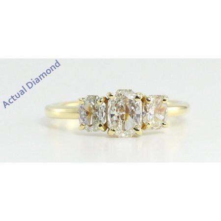 18k Yellow Gold Three Stone Radiant Cut Diamond Engagement Ring (0.98 Ct, J Color, VS