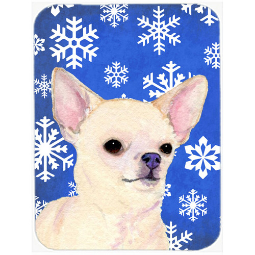 Carolines Treasures SS4679LCB Chihuahua Red and Green Snowflakes Holiday Christmas, Glass Cutting Board - Large