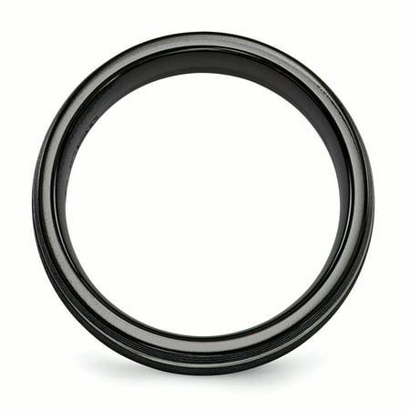 Edward Mirell Titanium Black Ti Textured Lines 7mm Band Size 6.5 - image 2 de 4