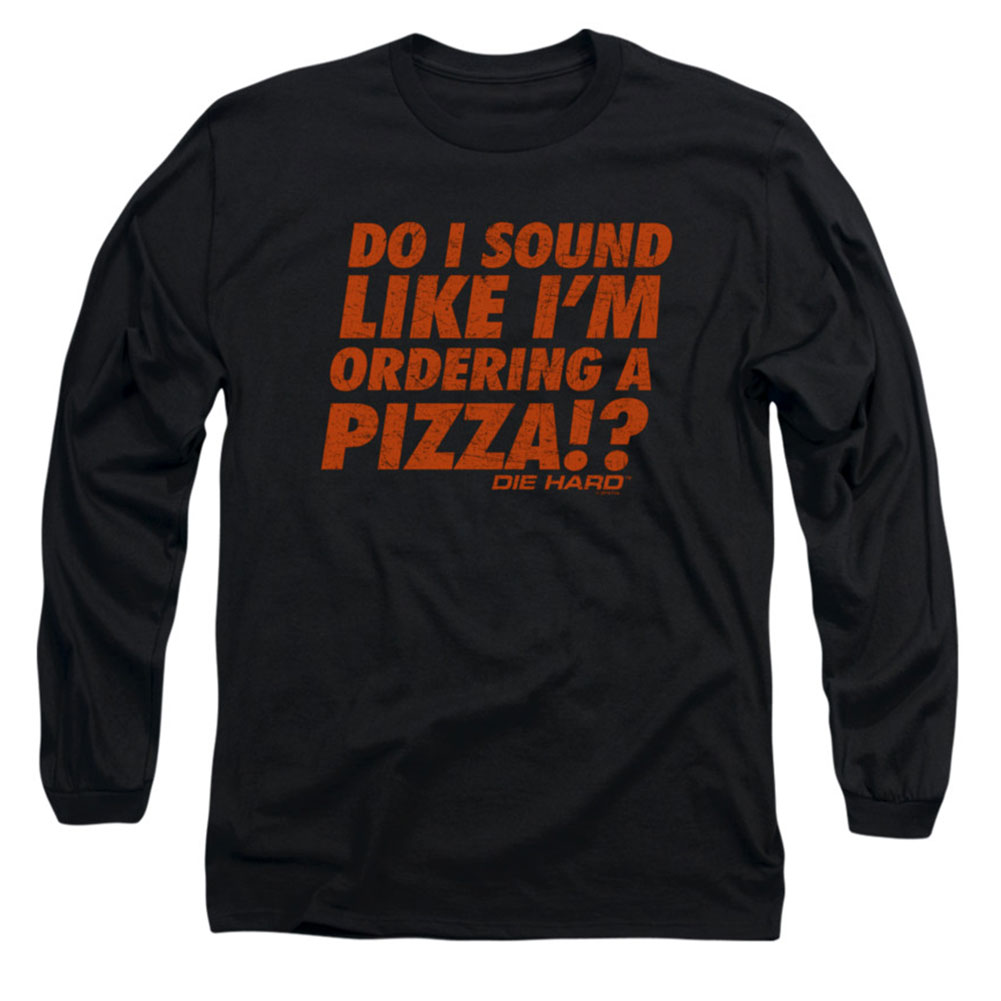 Die Hard Men's  Pizza Long Sleeve Black