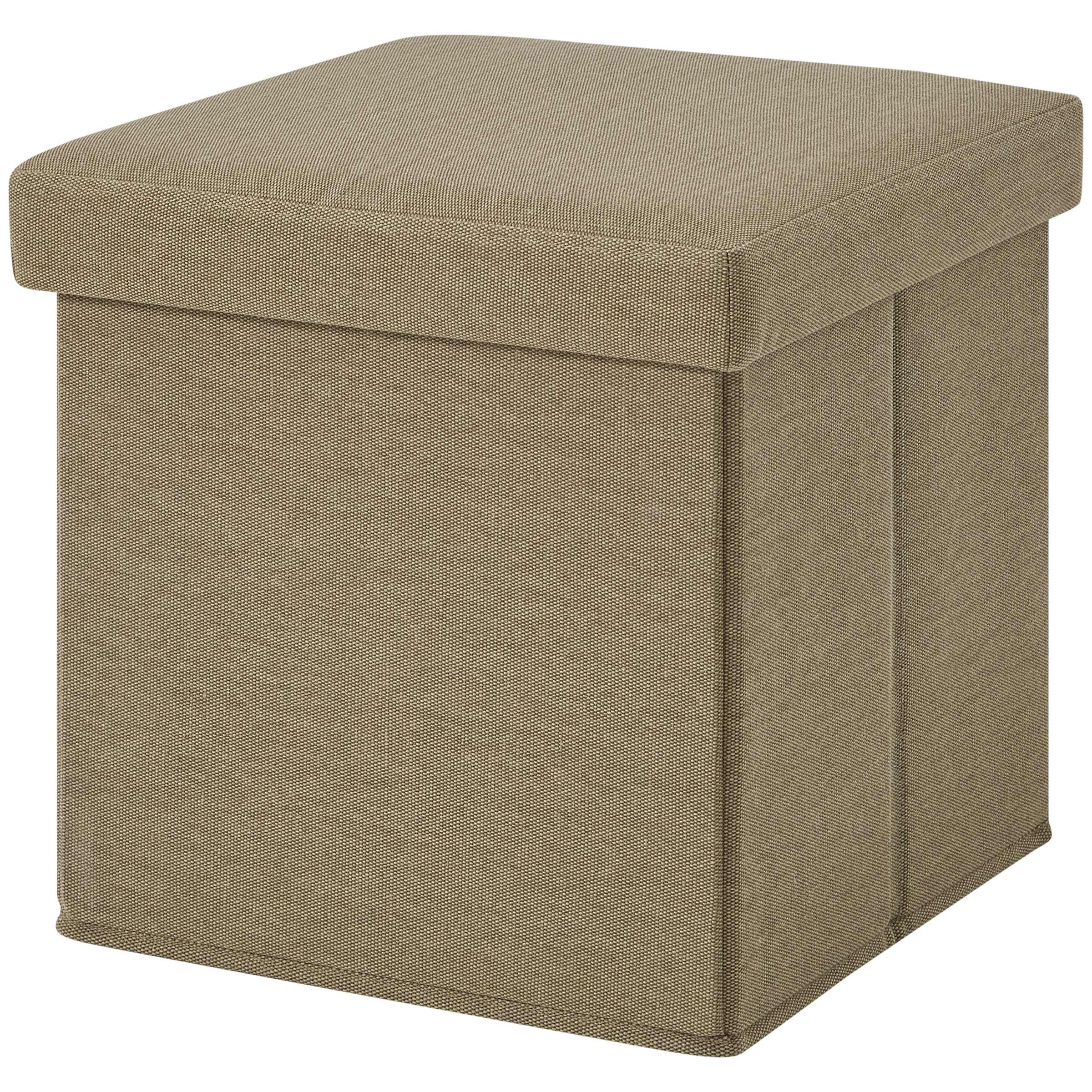 Mainstays Ultra Storage Ottoman, Tan Faux Suede