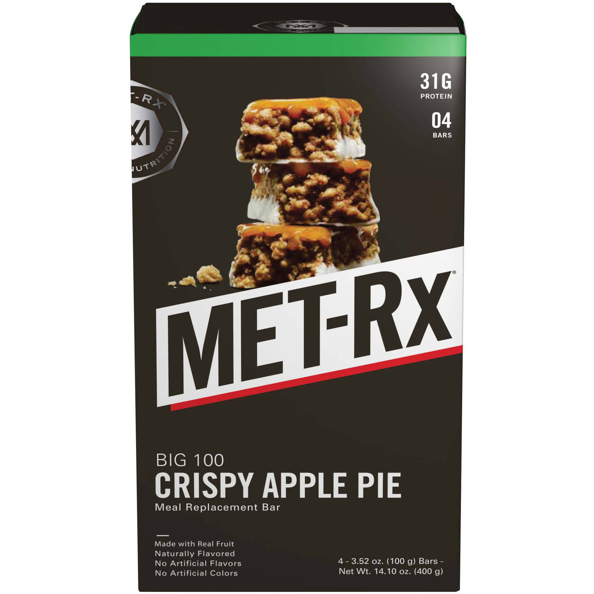 MET-Rx Big 100 Colossal Crispy Apple Pie Meal Bars, 4 count