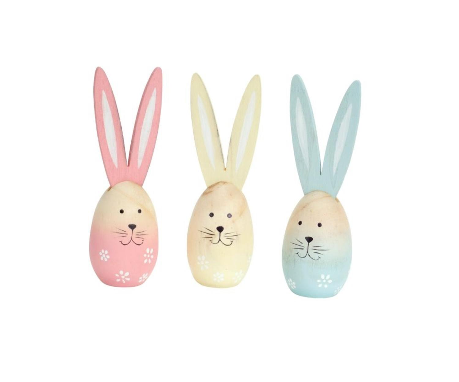 Club Pack of 12 Ombre Blue, Yellow and Pink Easter Egg Bunny Spring Decorations... by Melrose
