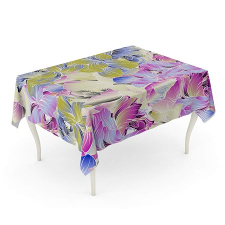 JSDART Delicate Colors of Seamples Pattern Peony Blossom Using Batik Tablecloth Table Desk Cover Home Party Decor 60x84 inch - image 1 de 1