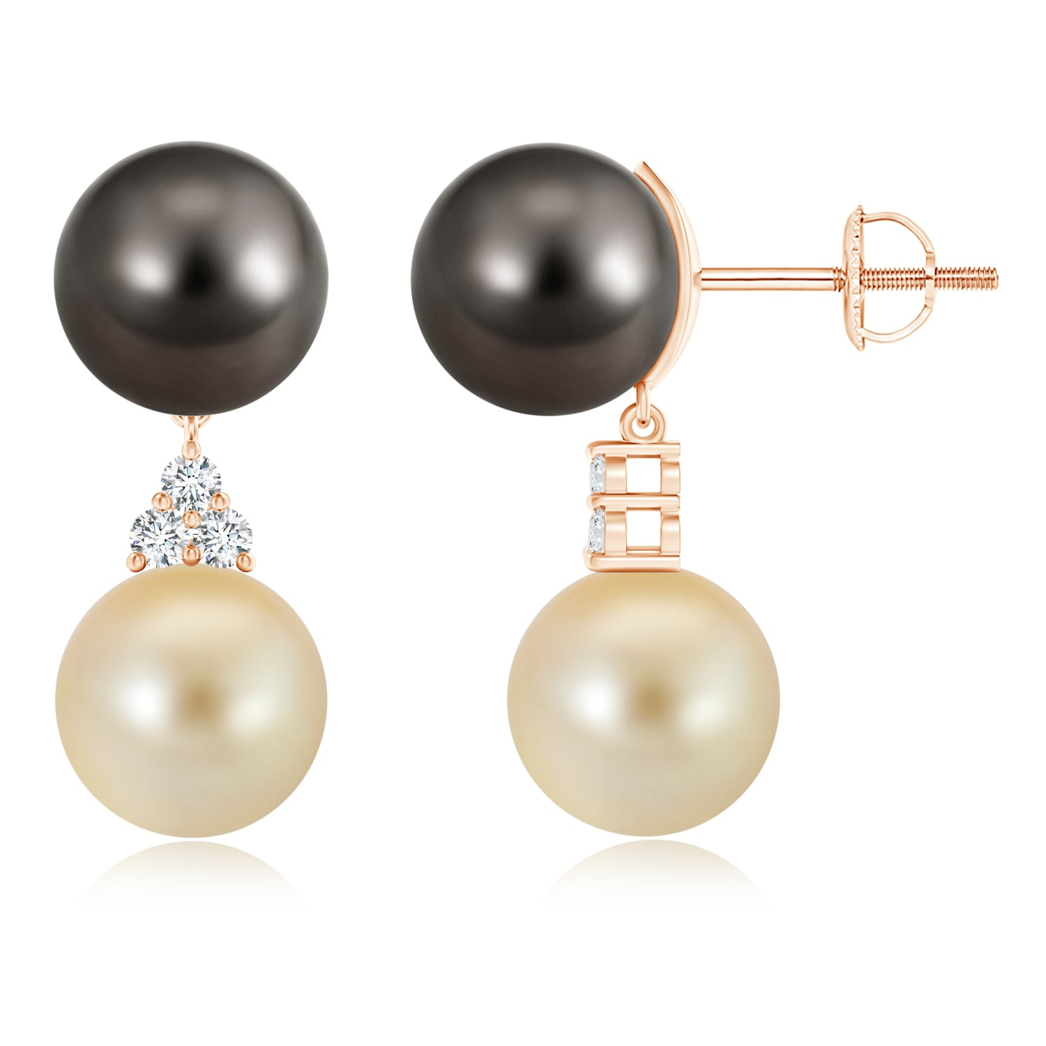 June Birthstone Jewelry Tahitian & Golden South Sea Cultured Pearl Earrings in 14K Rose Gold (10mm Tahitian Cultured... by Angara.com