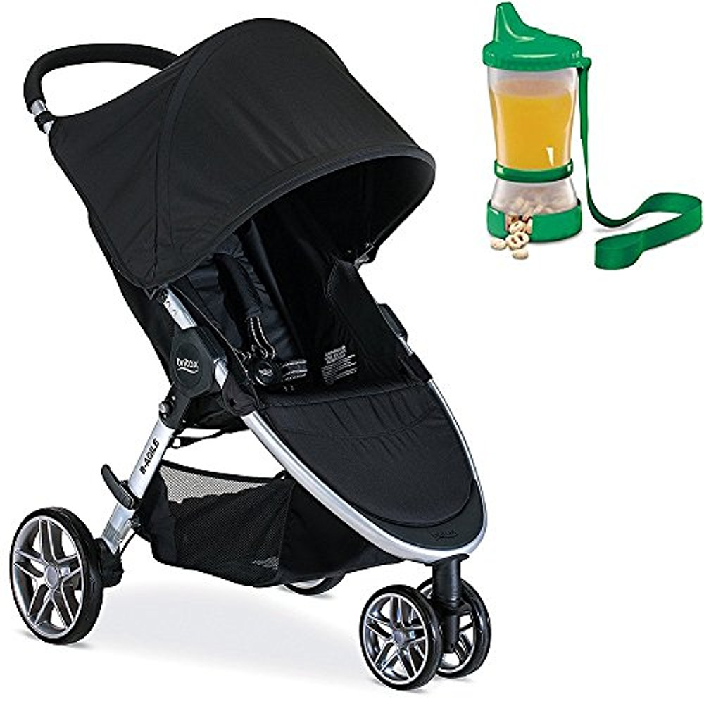 Britax 2017 B-Agile Stroller, Black With Non-Spill Cup and Snack Container(Colors May Vary)