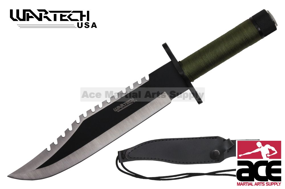 "15"" Survival Knife Drop Point Style W  Two Toned Blade And Includes A Sheath (Black) by"