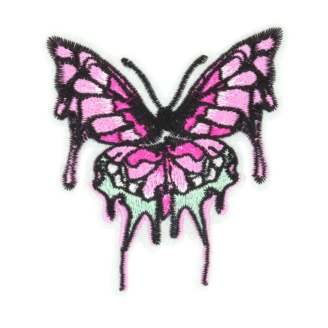 Unique Bargains Home Polyester Butterfly Design Embroidered DIY Clothes Decor Lace Applique Pink