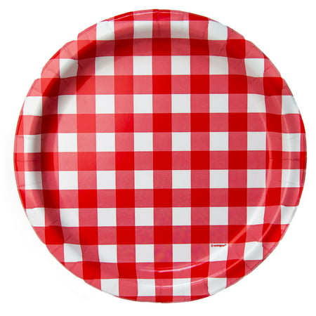 Gingham Paper Dinner Plates, Red, 9 in, 8ct - Decorative Paper Plates
