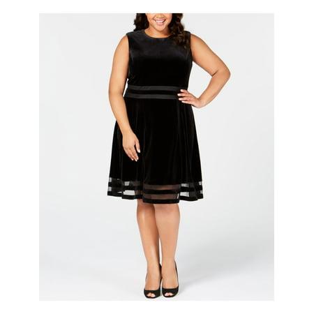 Calvin Klein Women's Plus Size Velvet Illusion A-Line Dress Flattering A-line Dress