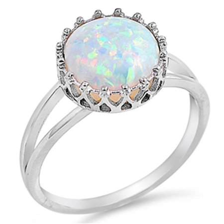Opal Wedding Band.Deep Set White Simulated Opal Wedding Ring Sizes 4 5 6 7 8 9 10 11 12 New 925 Sterling Silver Band Rings Size 5