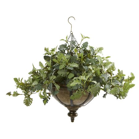 "Image of 23"" Dusty Miller Artificial Plant in Hanging Bowl"