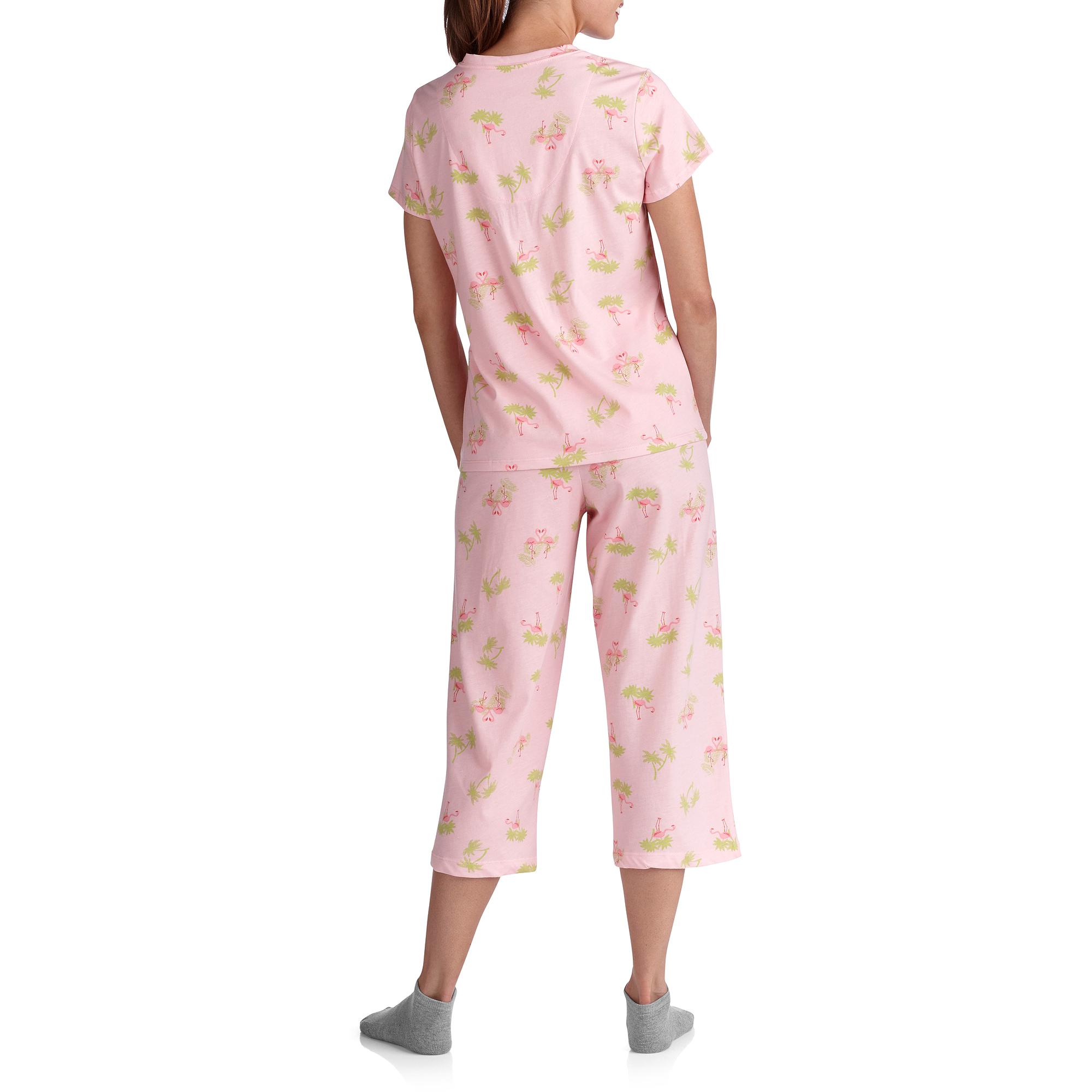 White Stag Women's Plus V Neck Sleep Shirt and Pant PJ Set