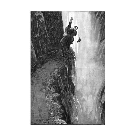 1896 Art - Holmes and Moriarty Fighting over the Reichenbach Falls, 1896 Print Wall Art By Sidney Edward Paget