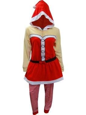 Briefly Stated Women's Mrs Santa Claus Onesie Hooded Skirted Union Suit Pajama