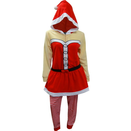 Mrs Santa Claus Onesie Hooded Skirted Union Suit Pajama - Santa Onesie