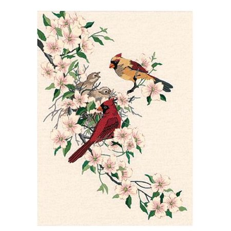 """Dimensions """"Cardinals In Dogwood"""" Crewel Kit, 11"""" x 15"""", Stitched In Wool and Thread"""