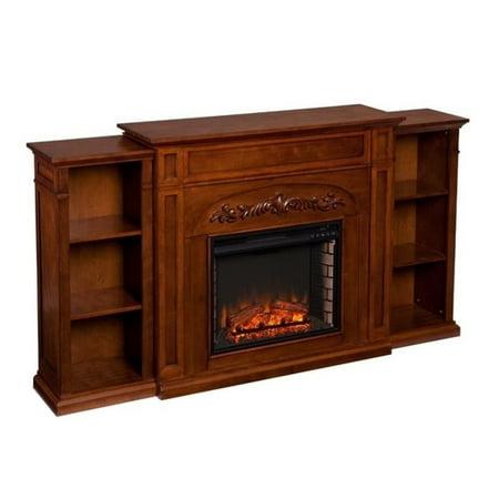 southern enterprises chantilly bookcase electric fireplace in oak. Black Bedroom Furniture Sets. Home Design Ideas