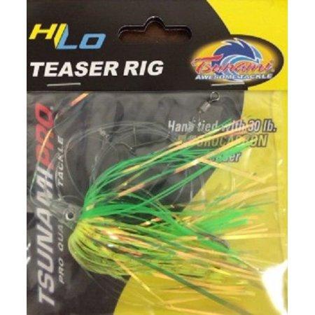 tsunami hi-lo mylar teaser fluke flounder rig chartreuse green