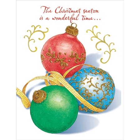 Designer Greetings Three Gold Foil Ornaments Christmas Card 3 Stone Gold Foil