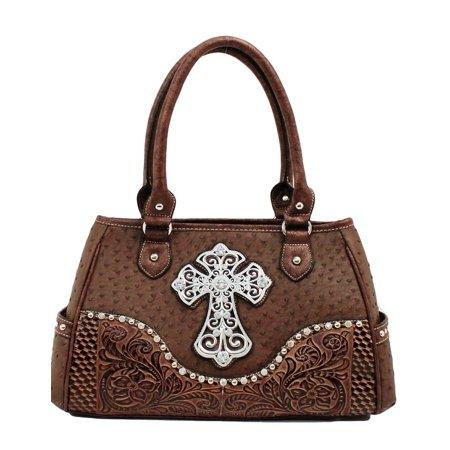 (Nocona Western Handbag Womens Satchel Ostrich Cross N75268)