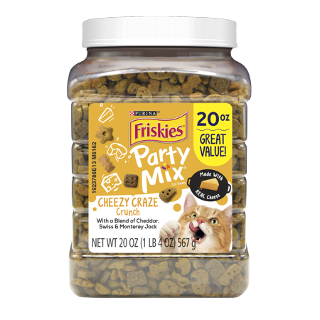 Friskies Cat Treats; Party Mix Cheezy Craze Crunch - 20 oz. Canister - Party Treats