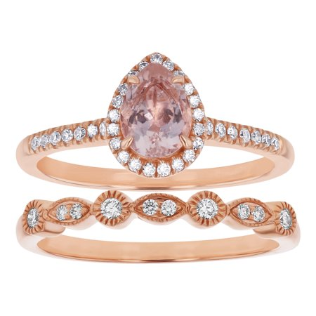 14k Rose Gold Pear Shape Morganite and 1/4 Carat Diamond Halo Vintage Engagement 2 Ring Set with Wedding Band (H-I, SI2-I1)